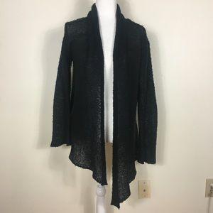 Wooden Ships Black Wool Open Cardigan Sweater